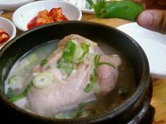 noodle(0.0), noodle soup(0.0), hot pot(0.0), pho(0.0), ginseng chicken soup(1.0), food(1.0), dish(1.0), southeast asian food(1.0), soup(1.0), cuisine(1.0), nabemono(1.0),
