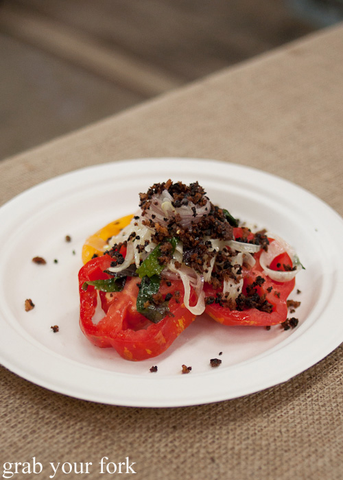 Heirloom tomato, fennel and olive crumb by Mitch Orr, 121BC at the Rootstock Sydney 2014 Night Festival