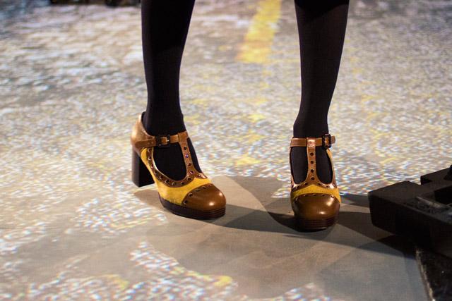 Orla Kiely Clarks AW14 ochre mary jane dotty shoe