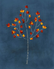 Family tree with names art blue white present day autumn leaves