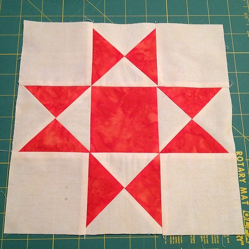 Next step in the #batiks #quilt is star blocks. First one made this morning! #ohcraft #darlingjillquilts