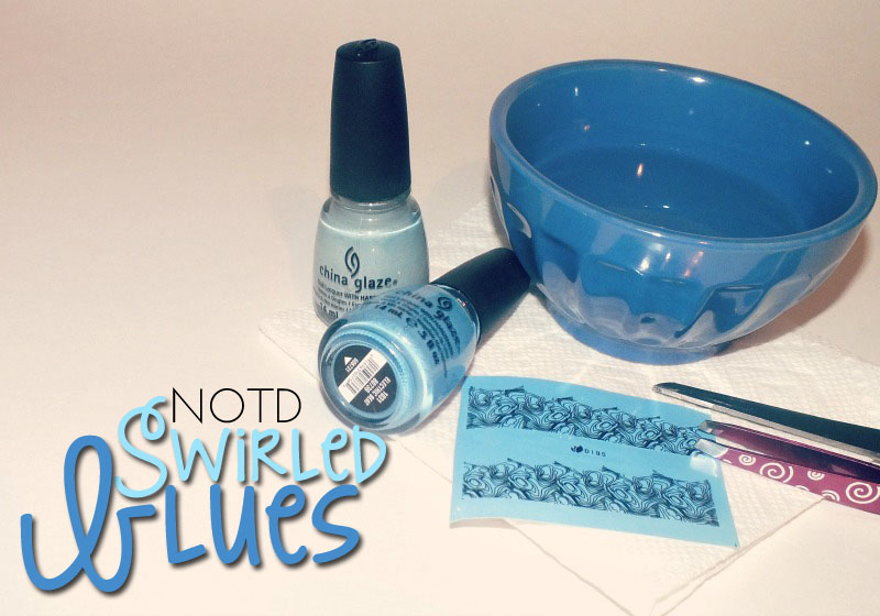 notd- swirled blues with born pretty nail decals (2)