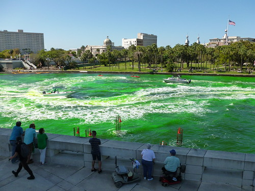 Dyeing the river green