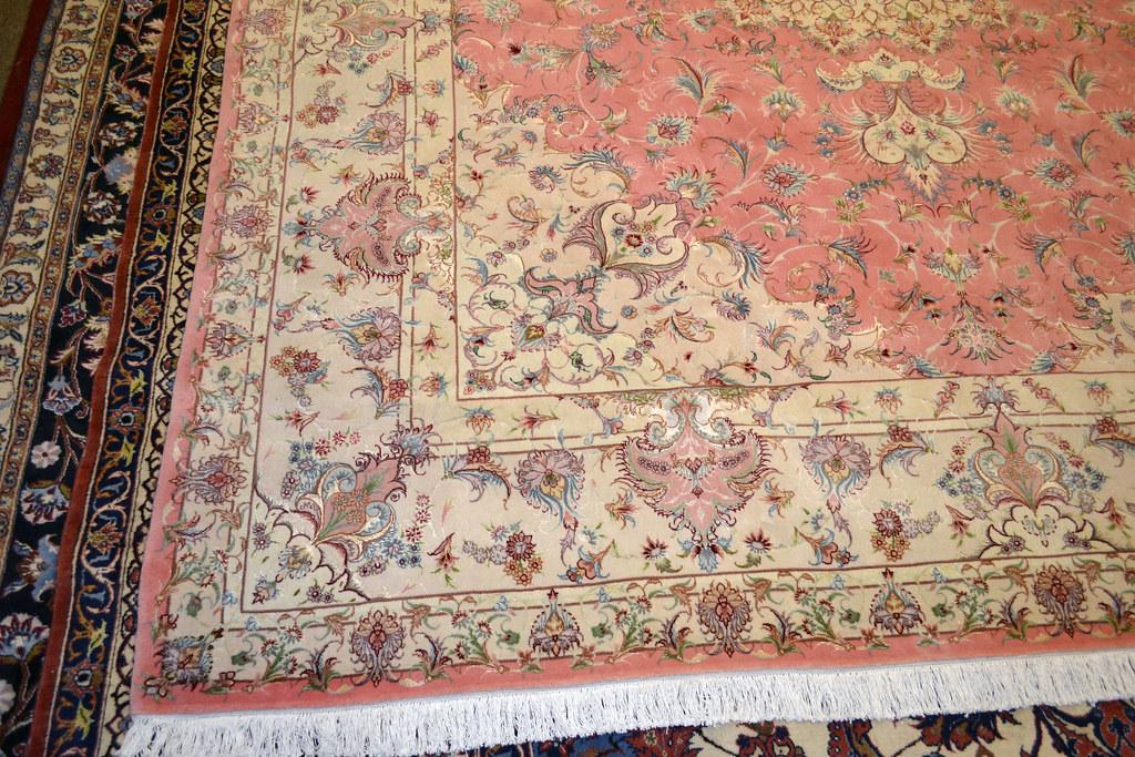Pink Benam Tabriz Wool Persian Rug Item Ka 101