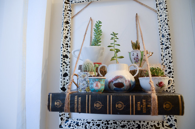 DIY Teacup Garden with Book Shelf