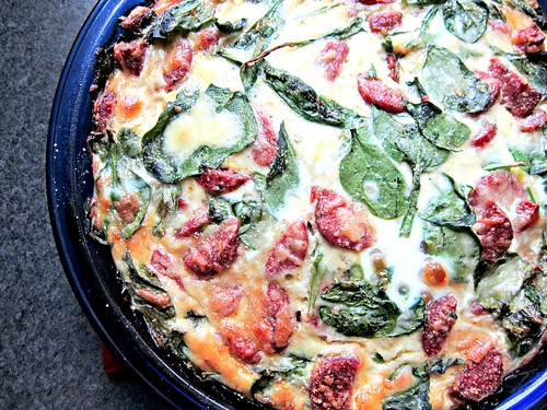 Smoked Venison & Gruyere Quiche with Spinach, Kale, and Arugula