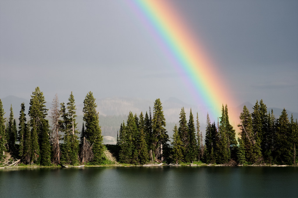 A rainbow above Indian Pond at Storm Point in Yellowstone National Park