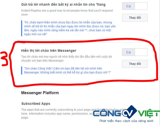 Hình 2: Cách cài đặt tạo lời chào trên Messenger cho Fanpage