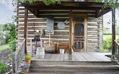 looking NE at rear porch - Tinsley Living Farm - Museum of the Rockies - 2013-07-08