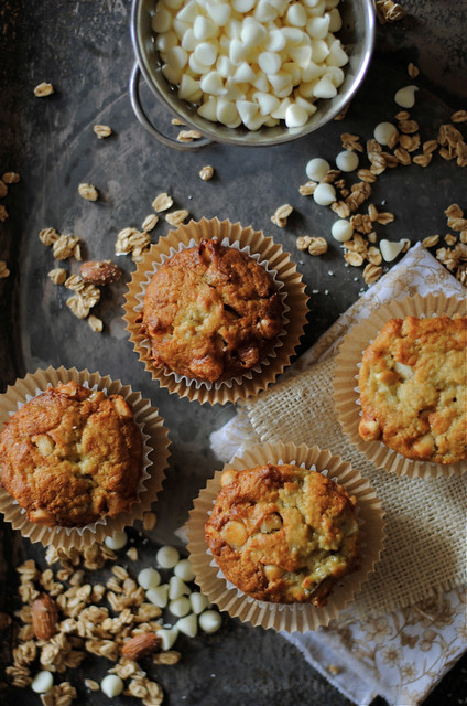 Banana and White Chocolate Chip Muffins