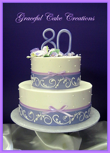 Elegant 80th Birthday Cake with Purple and Lavender - a ...