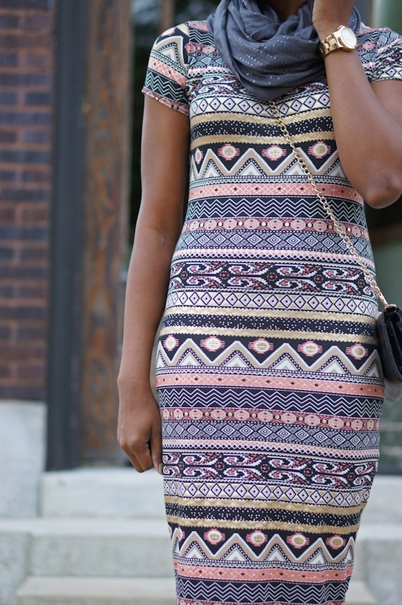 Ribbon Aztec Foil Midi Dress, Bank Fashion 5c