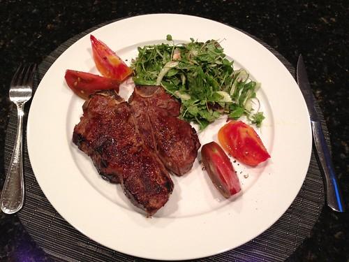 salad, Porterhouse Steak, tomatoes, greens,… IMG_0587