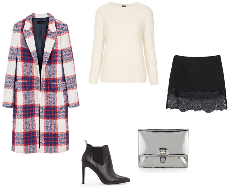 Zara checked coat Whistles silver Corine clutch Topshop cream cable knit