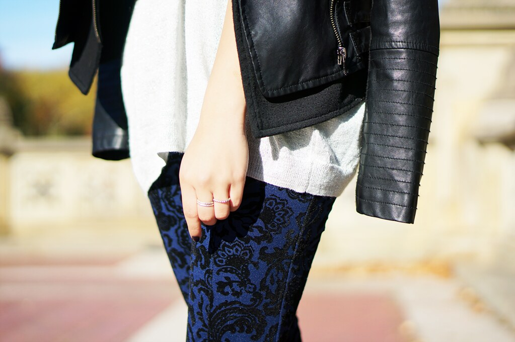 petite hues, forever 21, poetic paisley skinny pants, faux leather motorcycle jacket, oversized sweater