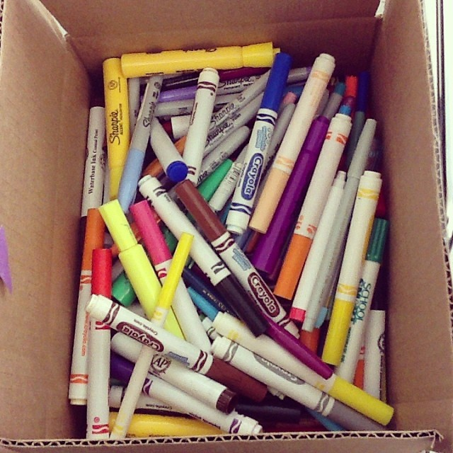 Getting ready to send dead markers to Crayola to be recycled into fuel #artclass