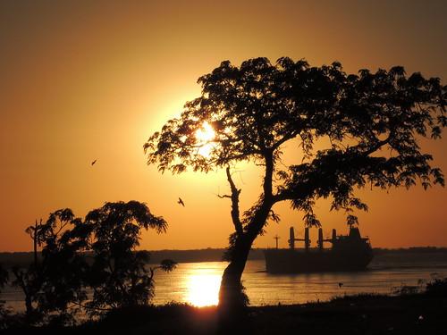 barco amanecer rosario silueta golondrinas mariobenedetti rioparaná parquecolectividades diegostiefel