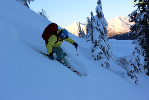 Early turns Mt Baker area.... photo Andy Traslin... skier Mike Traslin