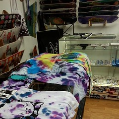 Babyhead tie dyes @sk8serio shop in Ventura... on the rack! They have stickers too!