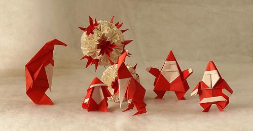 Origami Santa (Luigi Leonardi) - Origami Kerstmannetje (Marcus Cooman) - Origami  Santa Claus (Javier Caboblanco) - Origami Santa Claus (Linda Mihara) - Origami Saint Claus (Go Kinoshita)