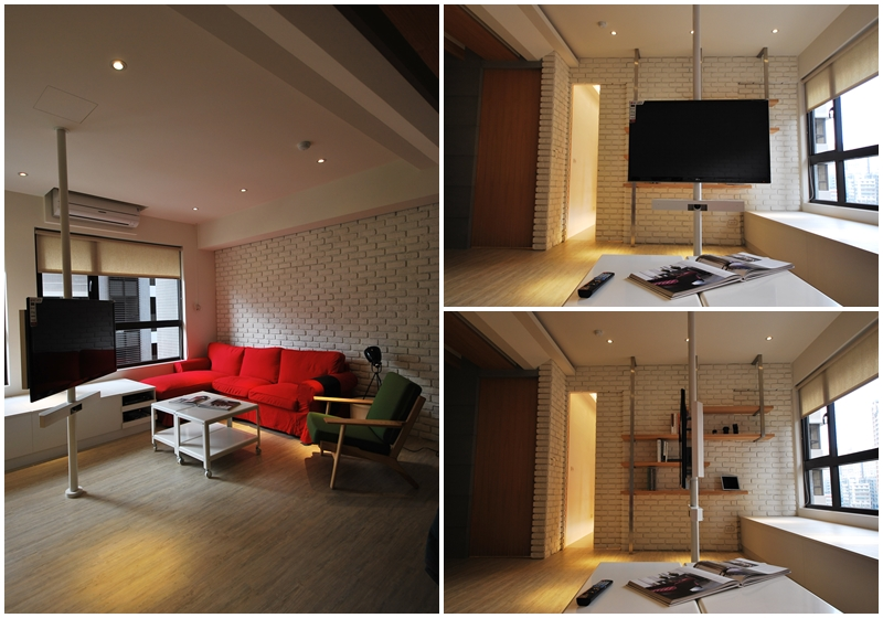 住宅設計-美式loft風格旋轉電視