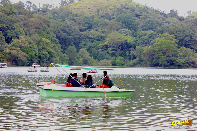 People boating in Pookode Lake, Kunnathidavaka, near Vythri, Wayanad, Kerala, India