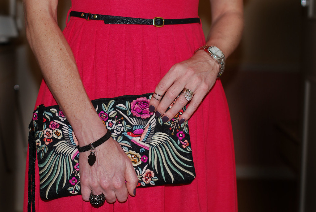 Red dress & embroidered clutch