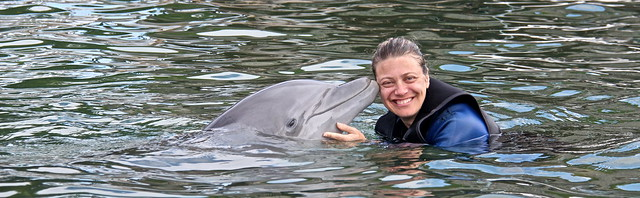Swimming with Dolphins - Key Largo, Florida - a dolphin kiss
