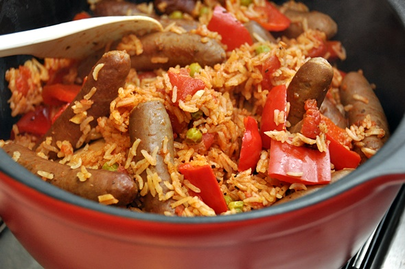 Mexican Rice with Sausage | www.fussfreecooking.com