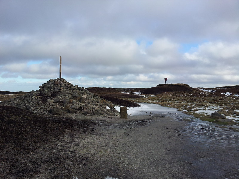 @LoneWalkerUK inspects the summit of Bleaklow Head