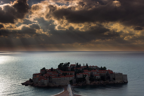 sunset sunlight night clouds mediterranean cloudy stefan rays islet montenegro sveti shafs