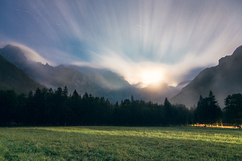 Cloudburst (Logarska Dolina Full Moon & Clouds), Slovenia by flatworldsedge