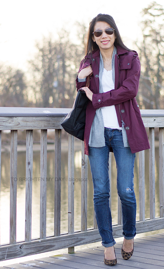 dark red jacket, gray open cardigan, white tee, leopard pumps