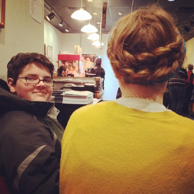 Olivia's pretty hair. These two make me laugh all day long. Being out with Adam is like having my own riff track along with me. I basically spend my time not being able to walk and wheeze laughing.  #love #teens