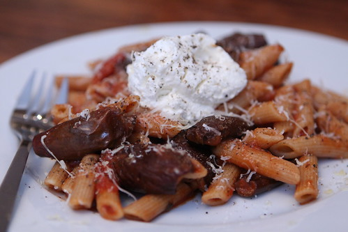 Whole Wheat Pasta with Roasted Indian Baby Eggplant, Ricotta, and Parmigiano-Reggiano