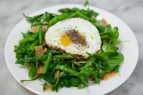 Chef Dan Kluger's Asparagus salad with fried egg, mustard viniagrette & parmesan