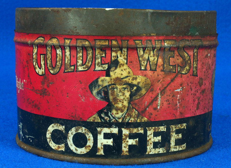 RD15323 Vintage 1927 Golden West Coffee Can Tin 1 lb. Cowgirl DSC09106