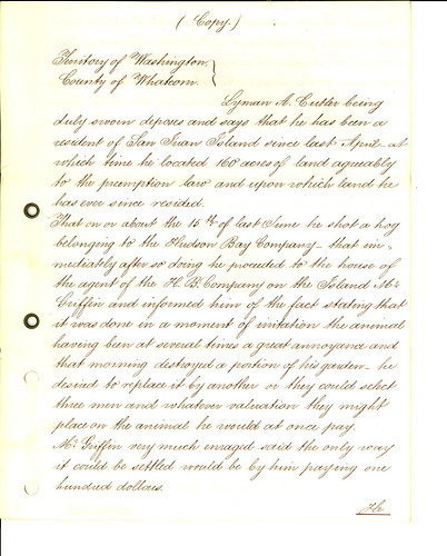 Affidavit of Lyman A. Cutlar Regarding Pig Shooting, September 7, 1859, Page 1 of 5 by The U.S. National Archives