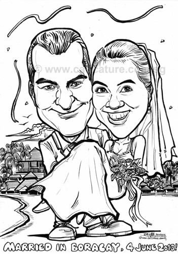 wedding couple caricatures in Boracay