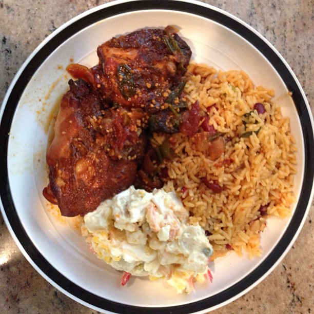 Jamaican style brown stew chicken, rice and peas with potato salad ...
