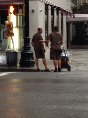 Deliverymen chatting, UES