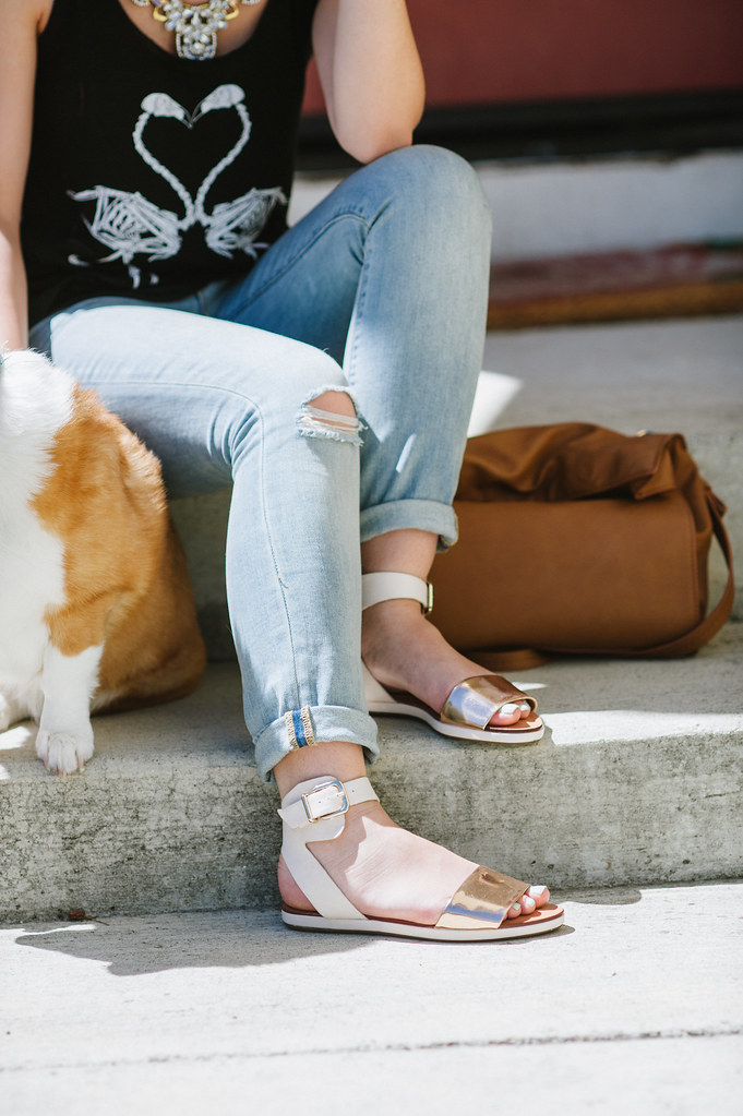 schutz ismay, sandals, readytwowear, metallic, ripped jeans, sf fashion blogger, sf blog
