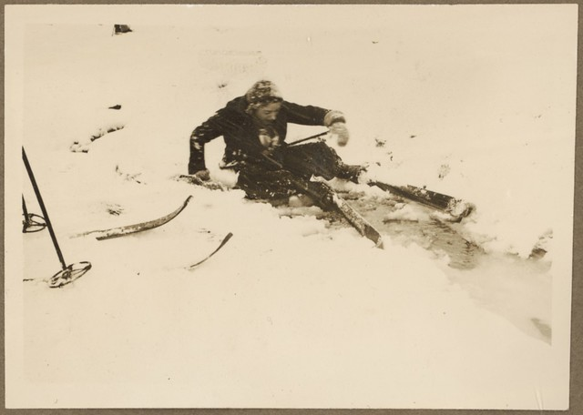Lil sitting pretty [after falling over on the ski slopes, Hotel Kosciusko area, September 1937]