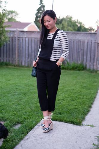 zara jumpsuit, zara striped shirt