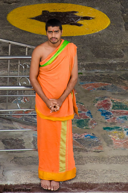 Hindu priest in saffron clothes ammapalle shamshabad