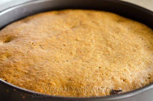 Vanilla fig cake, post-baking, before being taken out of cake pan