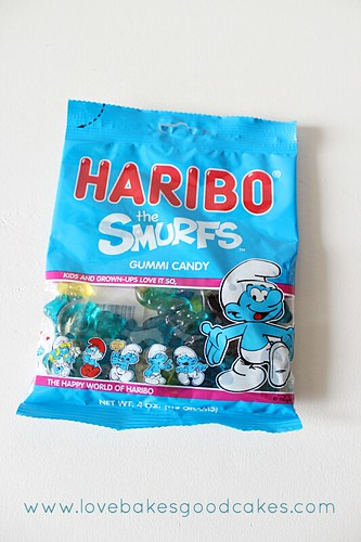 Haribo smurf candy in bag.