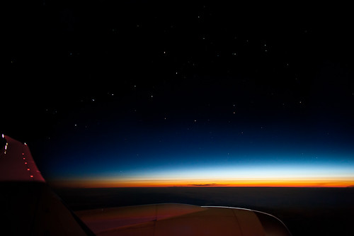 morning sky travelling night sunrise airplane stars dawn early nikon asia f14 space horizon flight wing earlymorning aeroplane jetengine 24mm nikkor 5am windowseat starlight rainbowcolours iso1000 13secexposure dreamliner boeing787 d700 boeing787dreamliner travellingintheskiesabovemongolia