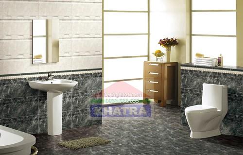 Gạch ốp toilet vân đá xanh đậm