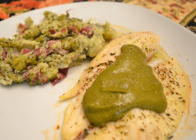 Tilapia w/ Sorrel Sauce & Sorrel-Smashed Potatoes